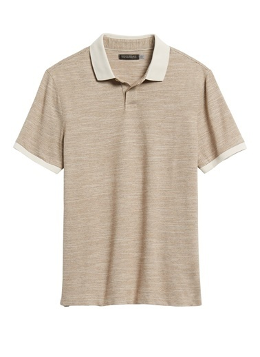 Banana Republic Slim Luxury-Touch Polo Yaka T-Shirt Bej